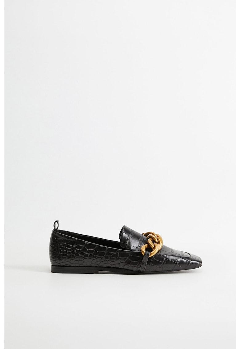 VIOLETA BY MANGO Pantofi loafer din piele ecologica cu lanturi decorative Ram