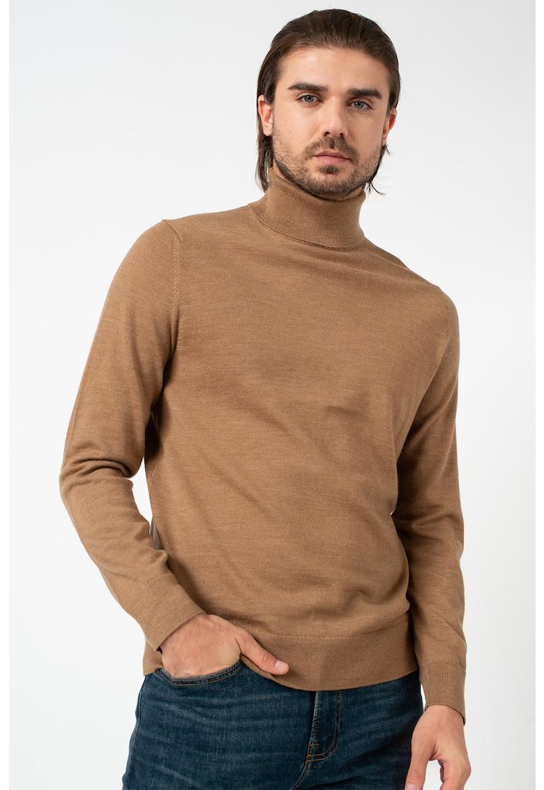 Pulover de lana merinos tricotat fin cu guler inalt