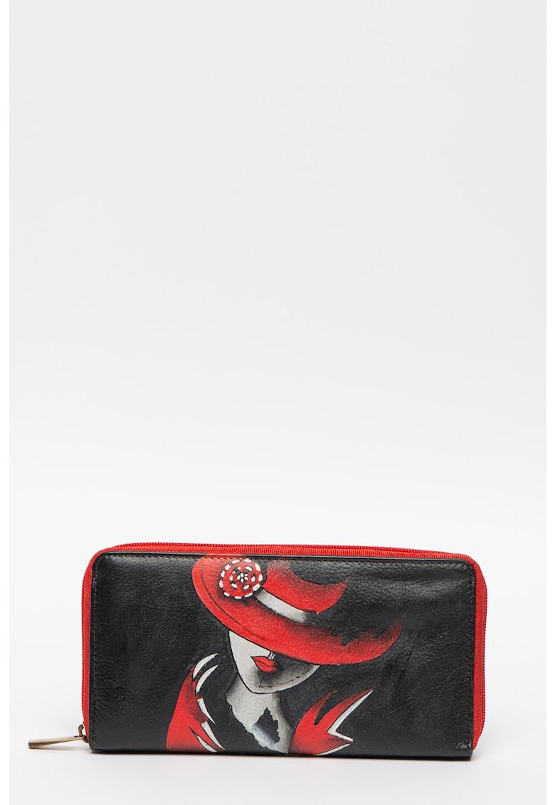 Portofel de piele - cu fermoar - pictat manual fashiondays.ro