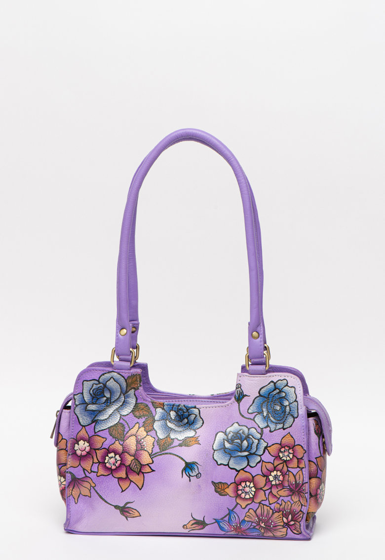 Geanta de piele - cu bareta de umar si model floral pictata manual