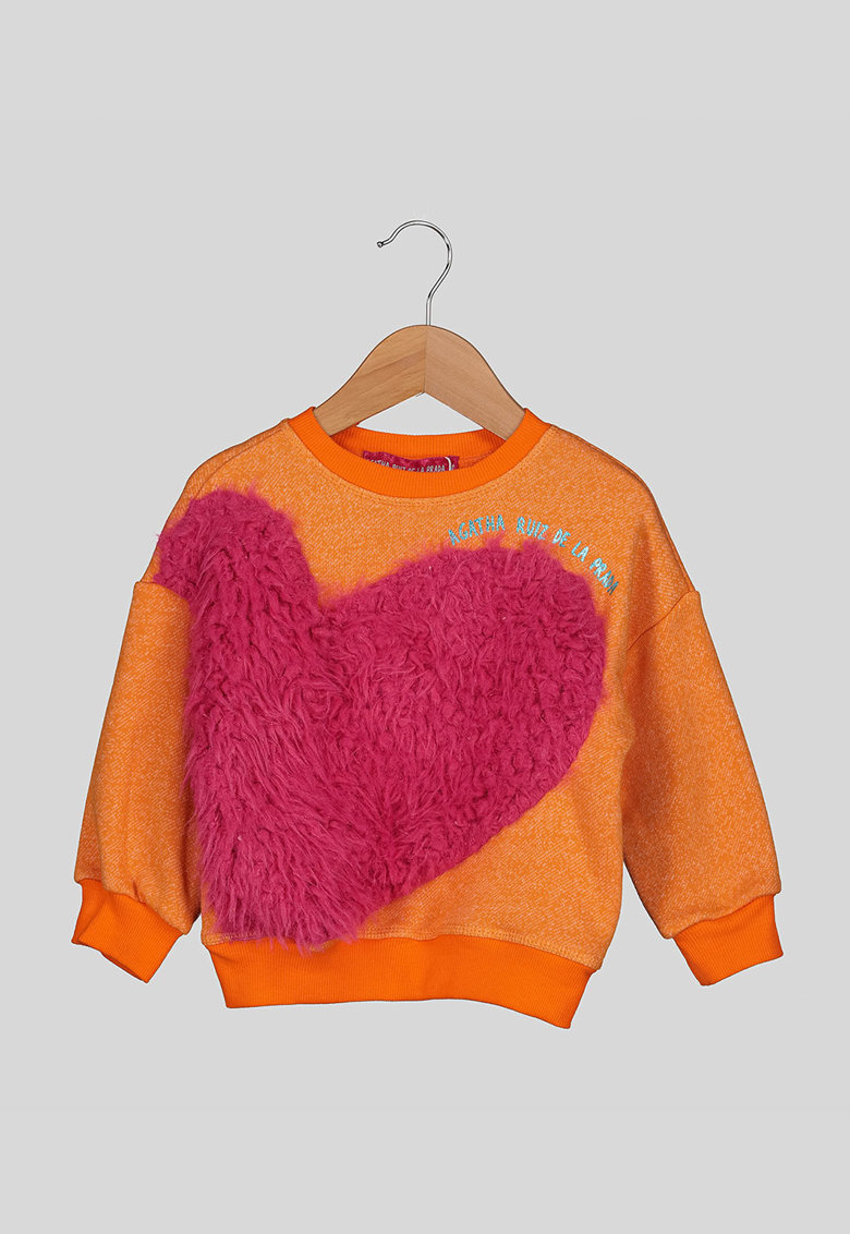 Bluza sport cu aplicatie din blana sintetica imagine fashiondays.ro