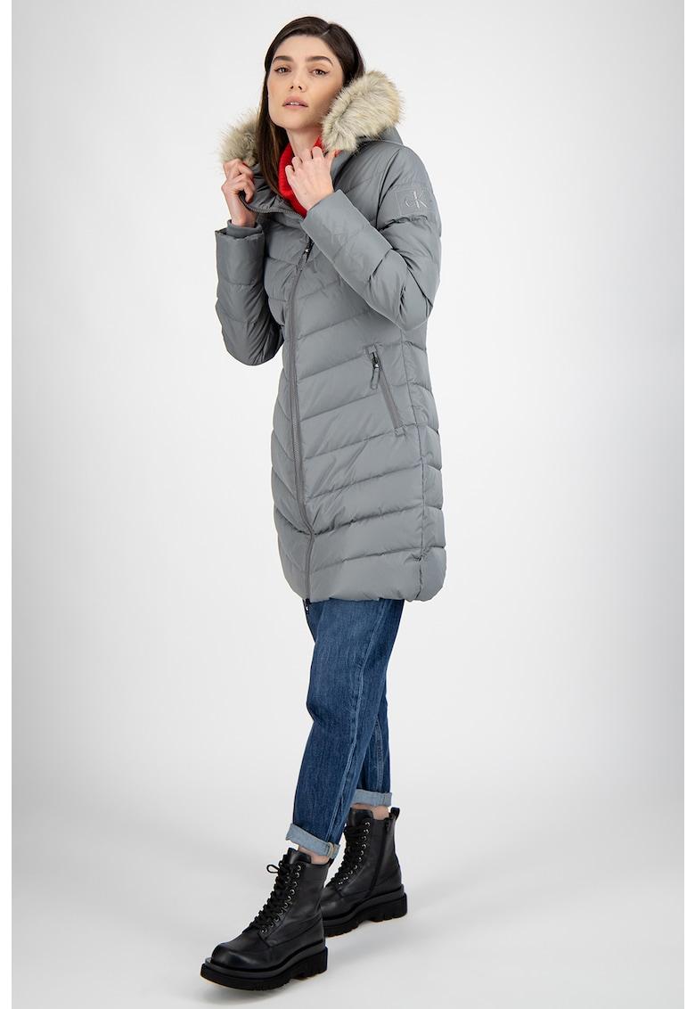 CALVIN KLEIN - Geaca cu umplutura de puf si garnitura din blana sintetica imagine