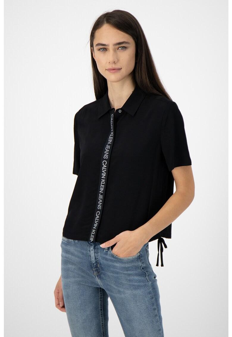 Camasa cu imprimeu logo si terminatie cu snur de ajustare poza fashiondays