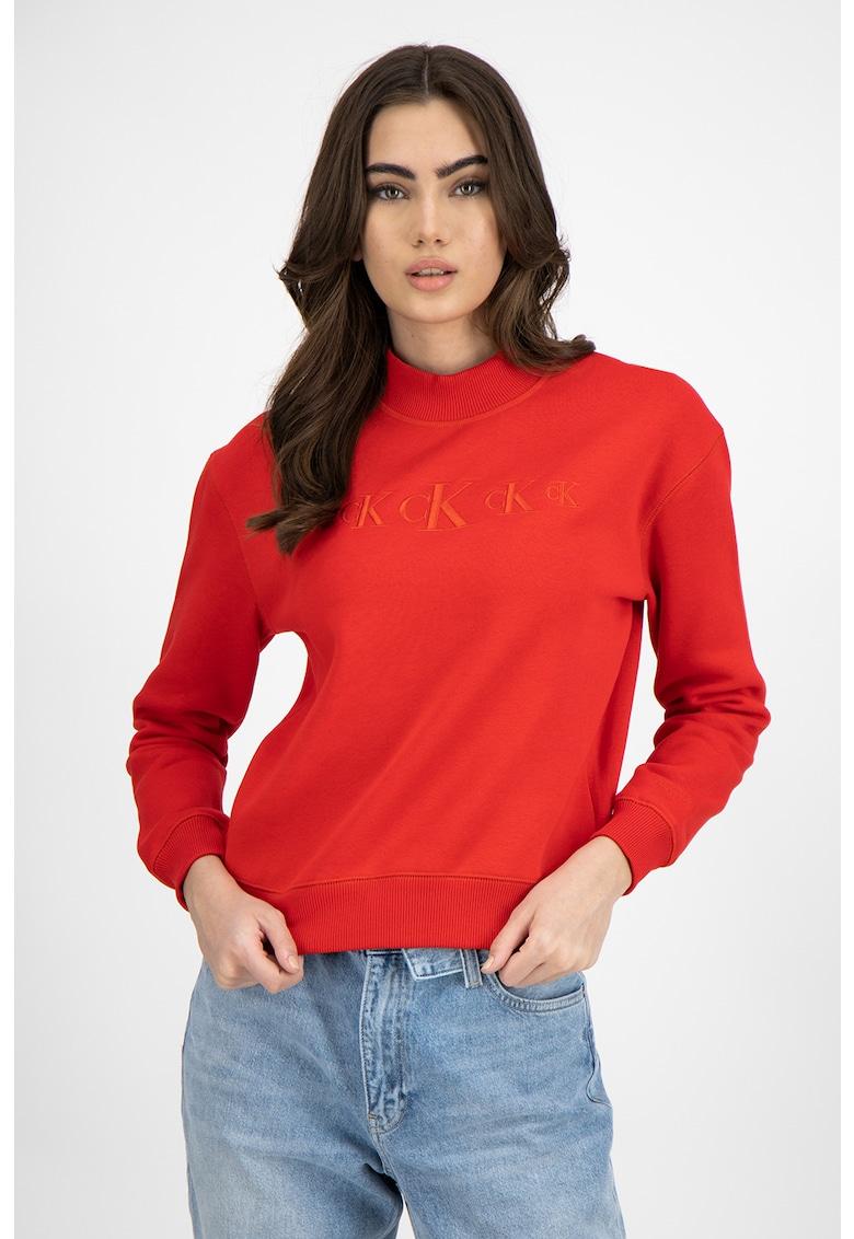 Bluza sport din amestec de bumbac organic cu broderie logo