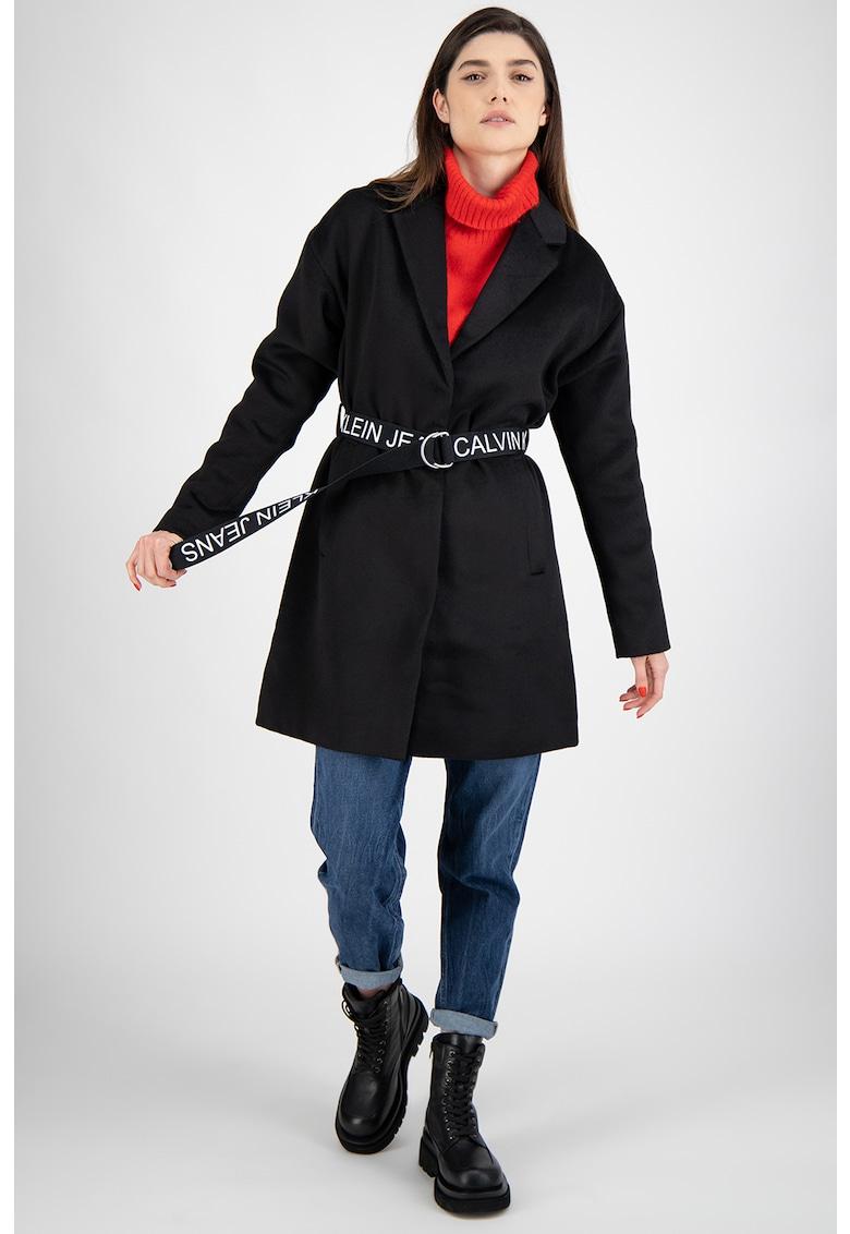 Palton din amestec de lana cu o curea imagine fashiondays.ro