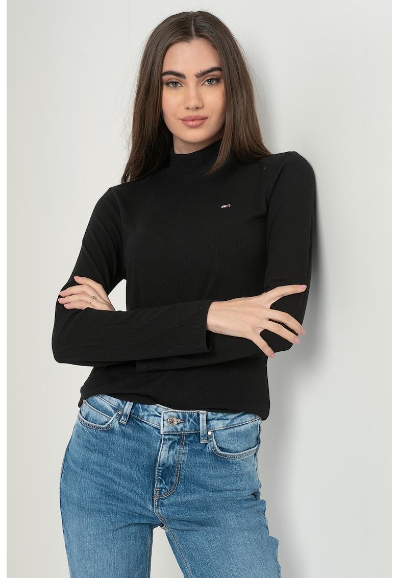 Bluza slim fit cu guler mediu
