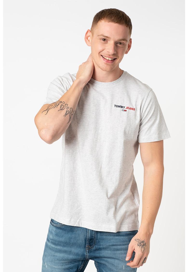 Tricou din bumbac organic cu broderie logo 1 imagine