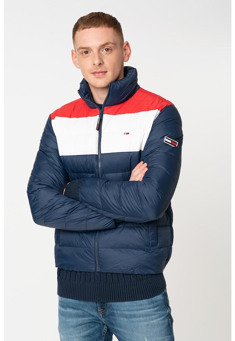 Jacheta cu umplutura de puf si model colorblock imagine