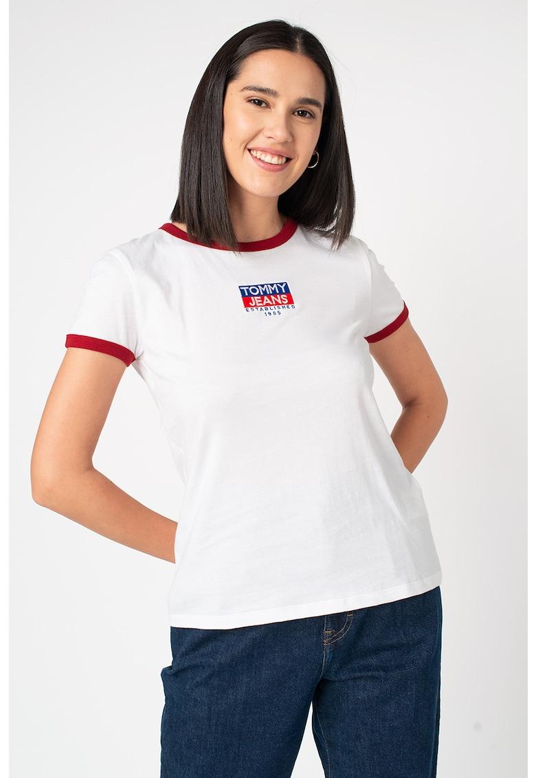 Tricou de bumbac organic cu terminatii contrastante