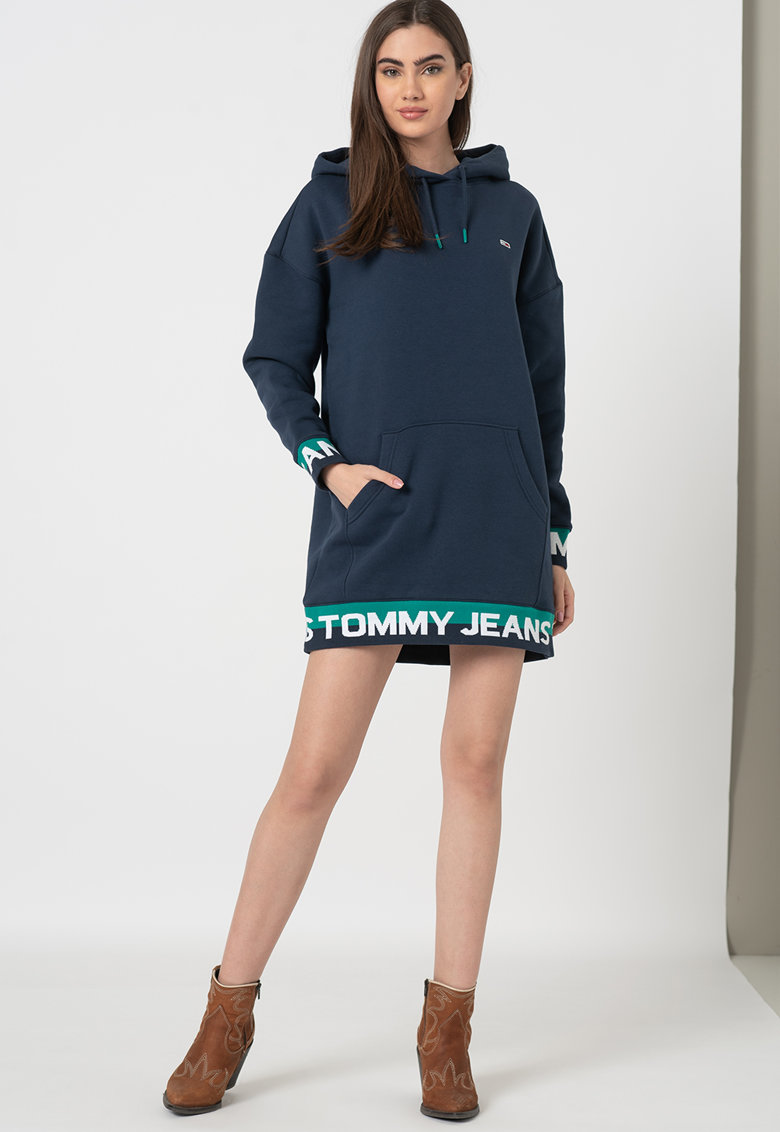 Rochie tip bluza sport din amestec de bumbac organic cu logo pe partile laterale imagine