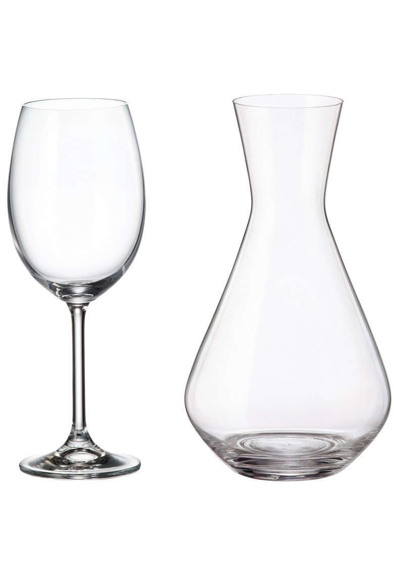 Set 7 piese vin Fringilla - cristalin - decantor 1.2 L + pahare 450 ml imagine fashiondays.ro 2021