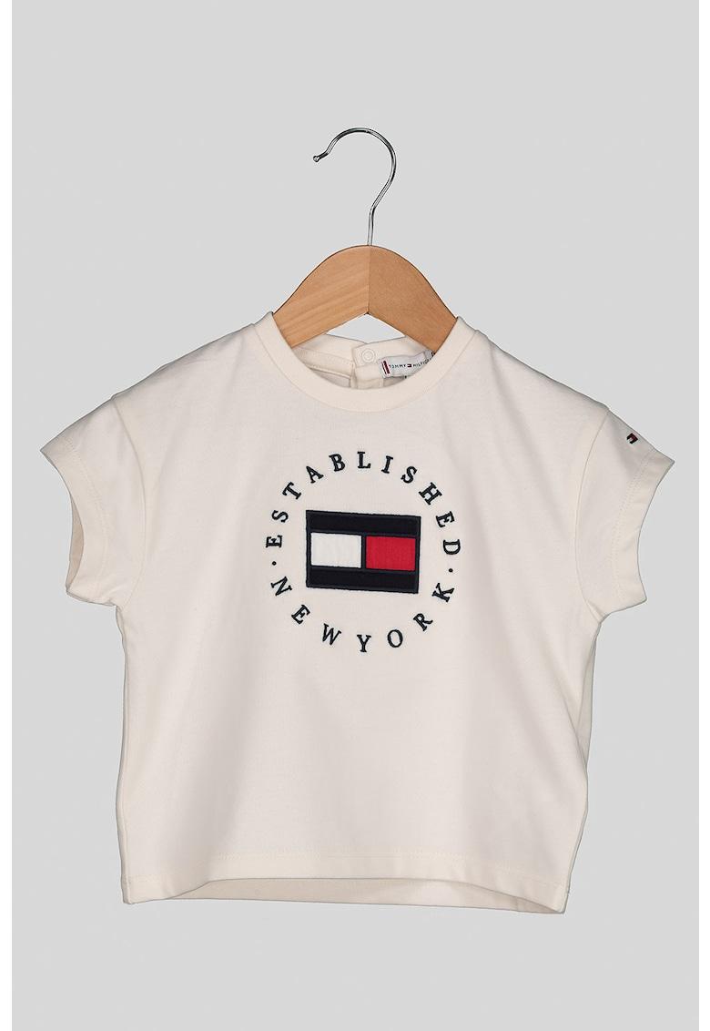Tricou cu decolteu la baza gatului si logo brodat imagine