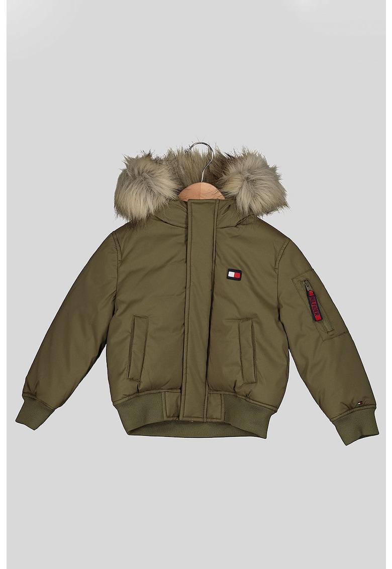 Jacheta cu vatelina - gluga si detalii din blana sintetica