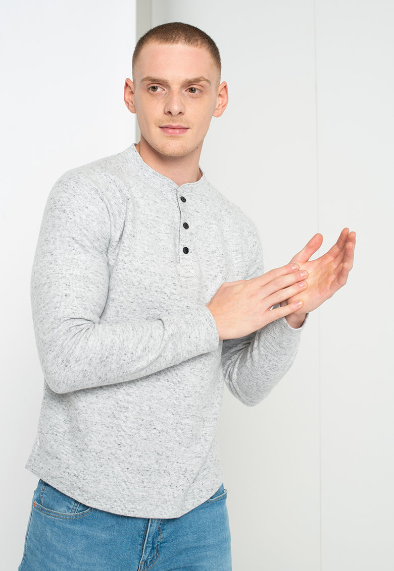 Bluza din amestec de bumbac organic cu decolteu henley imagine
