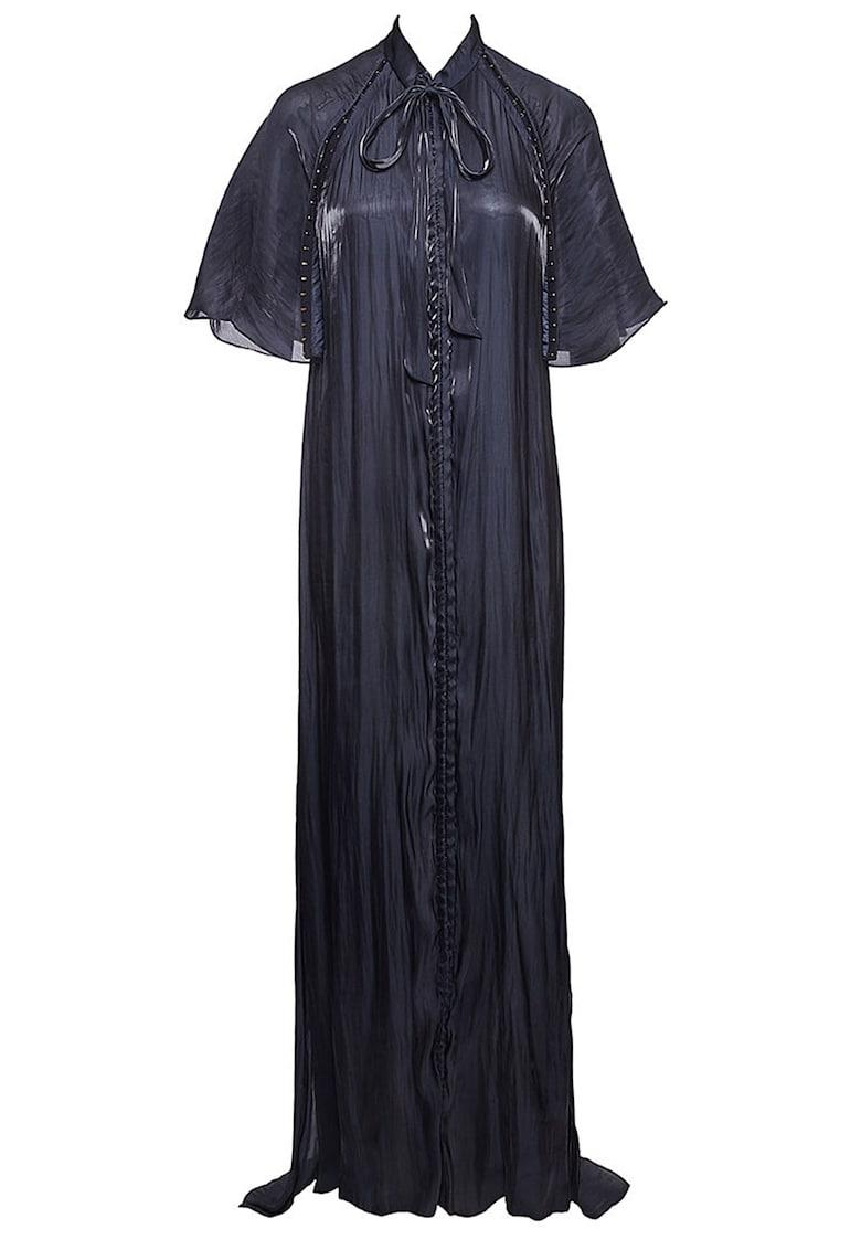 Rochie maxi evazata cu prindere cu snururi