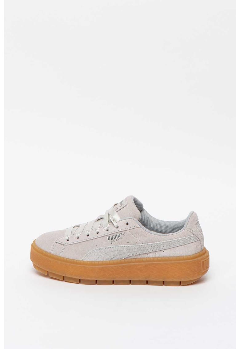 Pantofi sport flatform de piele intoarsa Trace