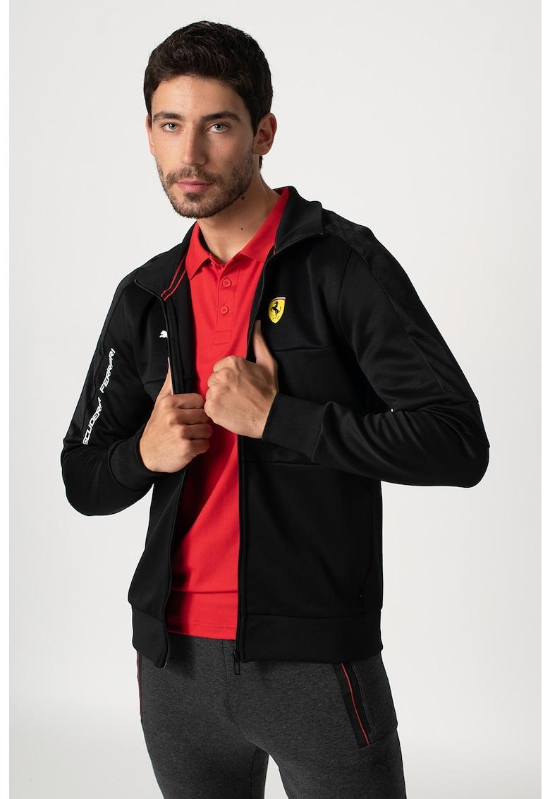 Bluza sport cu fermoar si logo Scuderia Ferrari