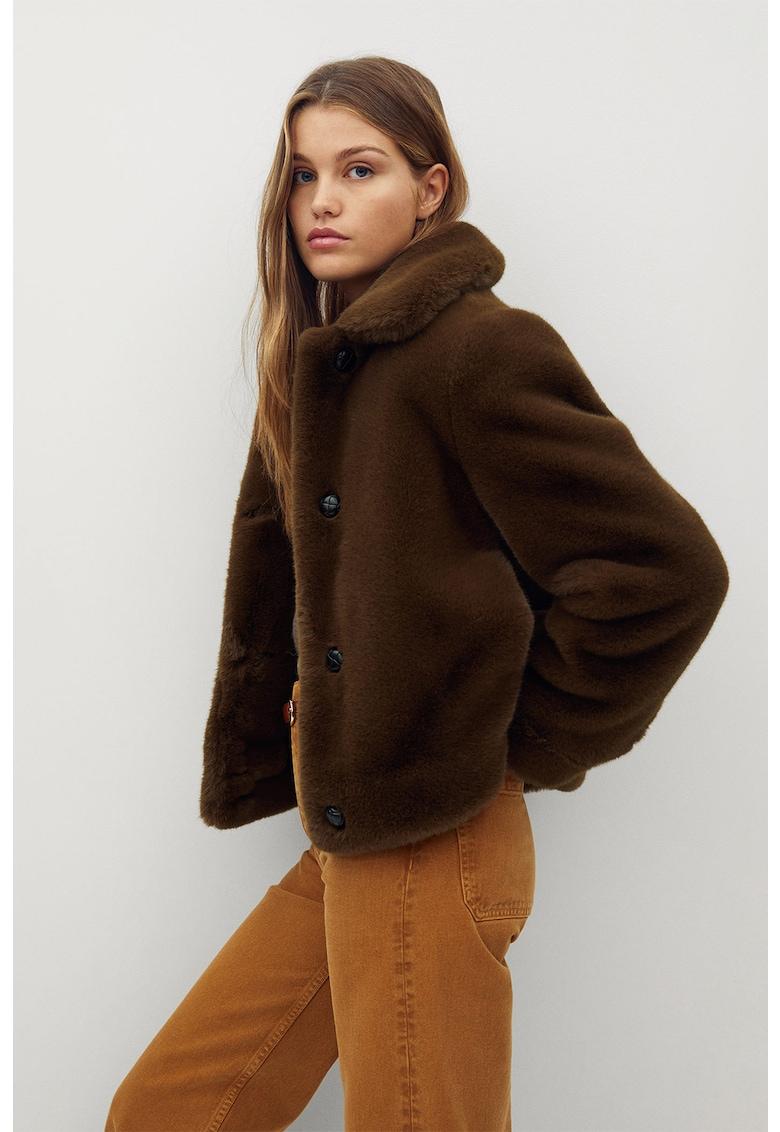Jachete de blana sintetica cu revere Wood