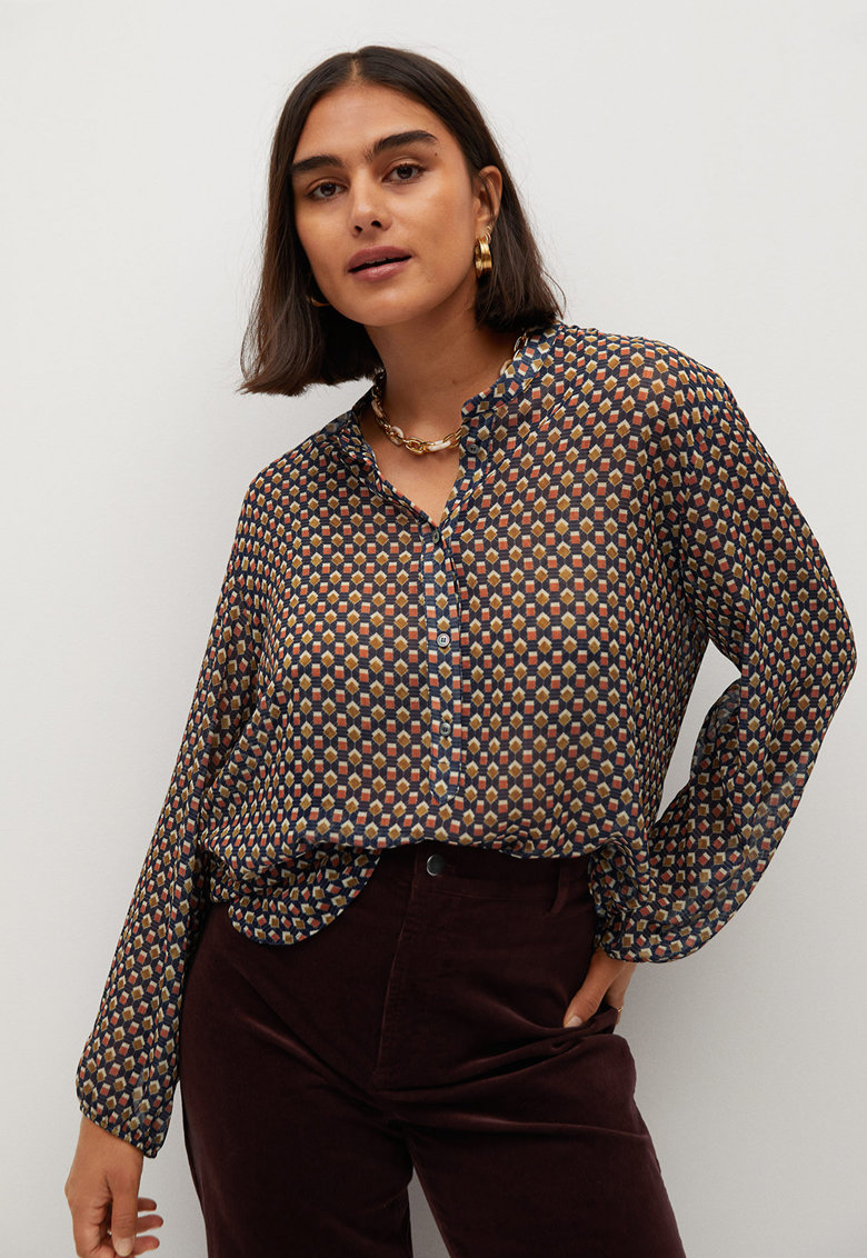 Bluza vaporoasa cu imprimeu Geo imagine