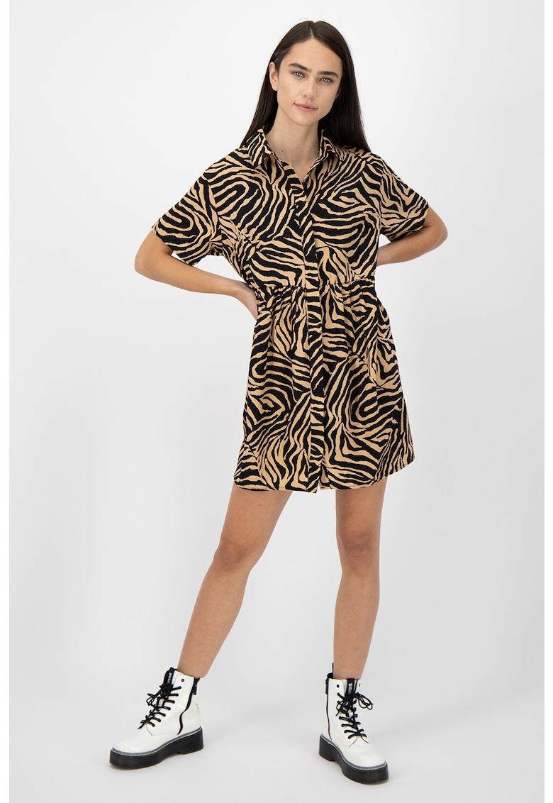 Rochie tip camasa cu imprimeu zebra