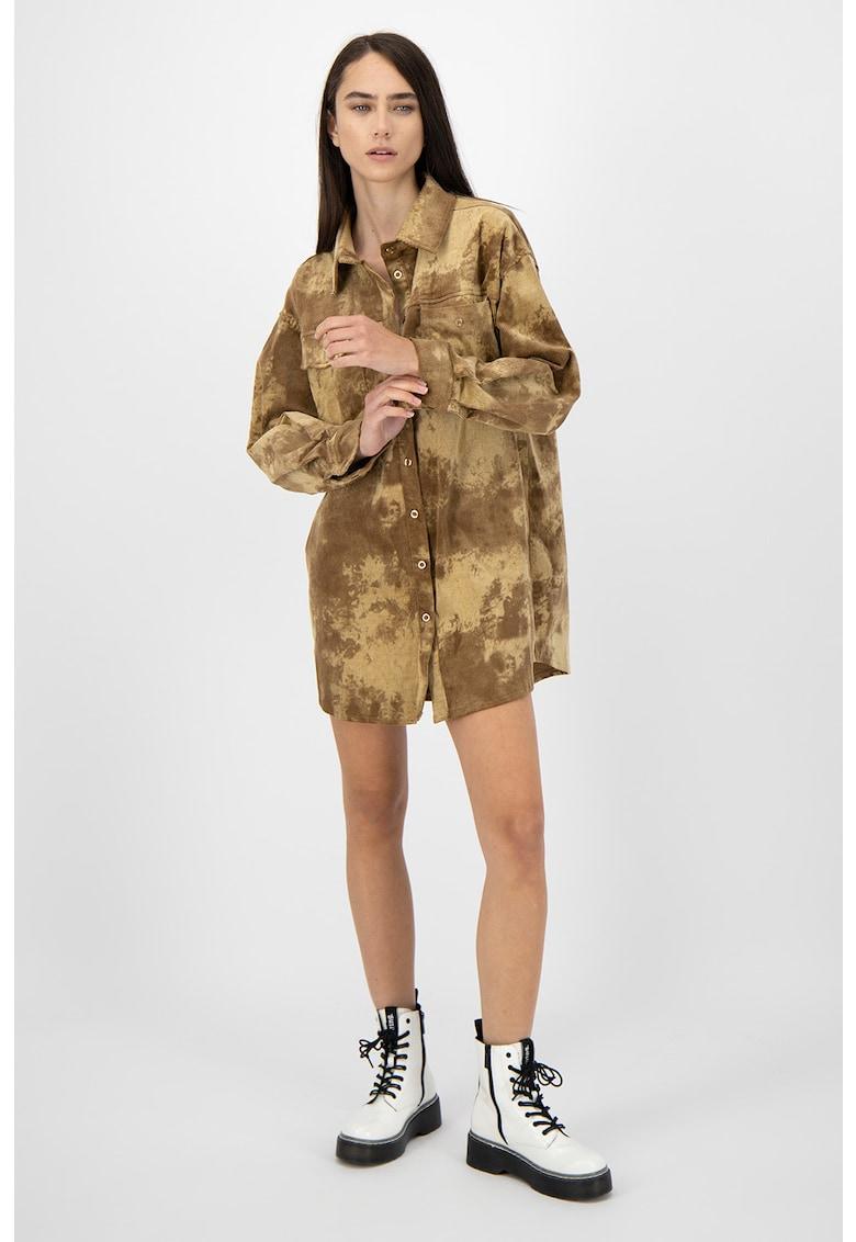 Rochie mini tip camasa cu model abstract imagine fashiondays.ro