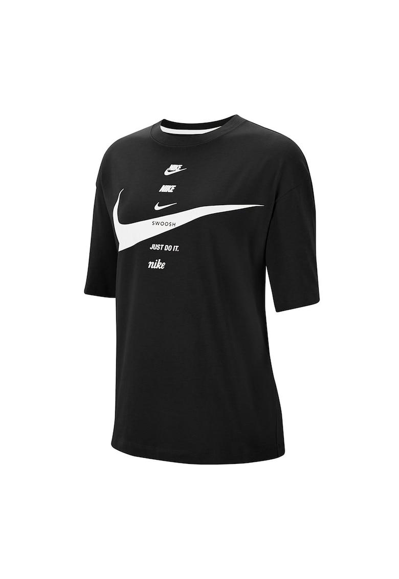 Tricou lejer cu imprimeu logo imagine fashiondays.ro