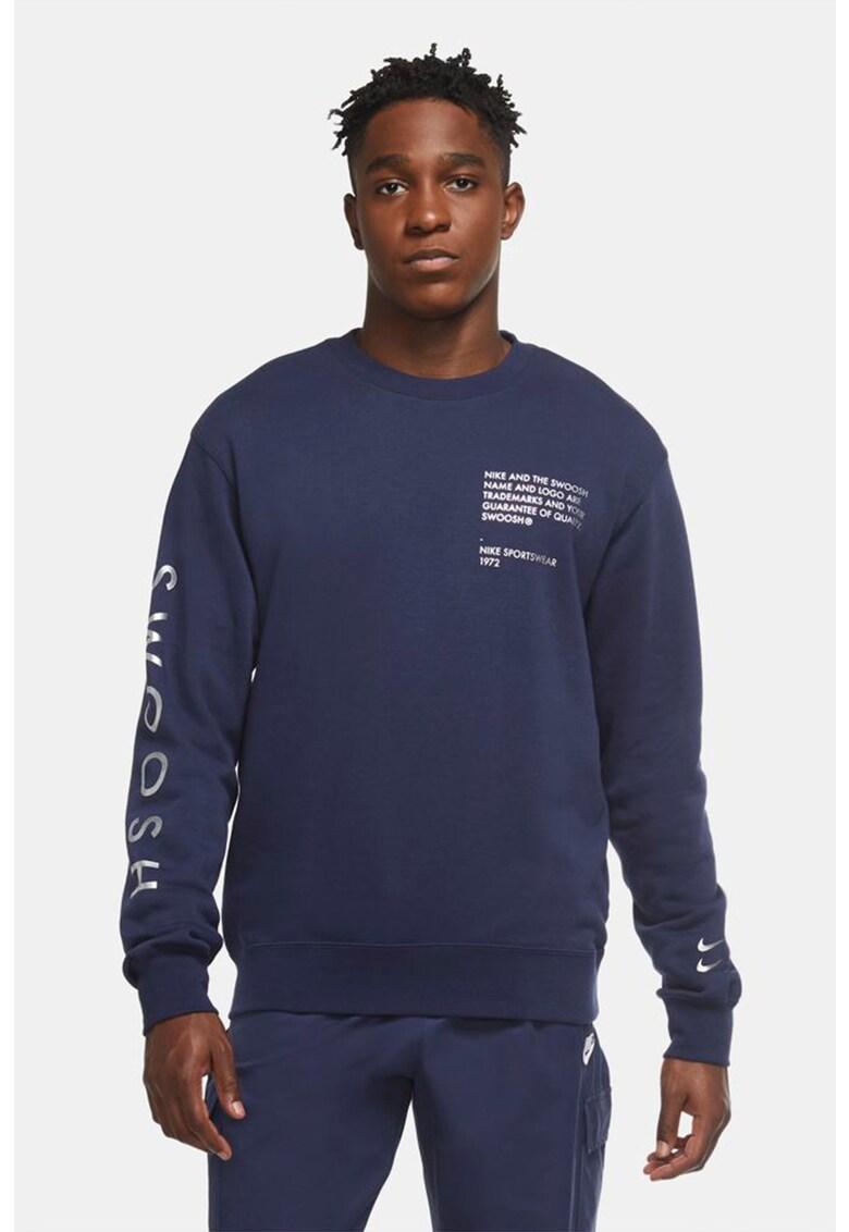 Bluza sport cu decolteu la baza gatului si imprimeu text Swoosh imagine