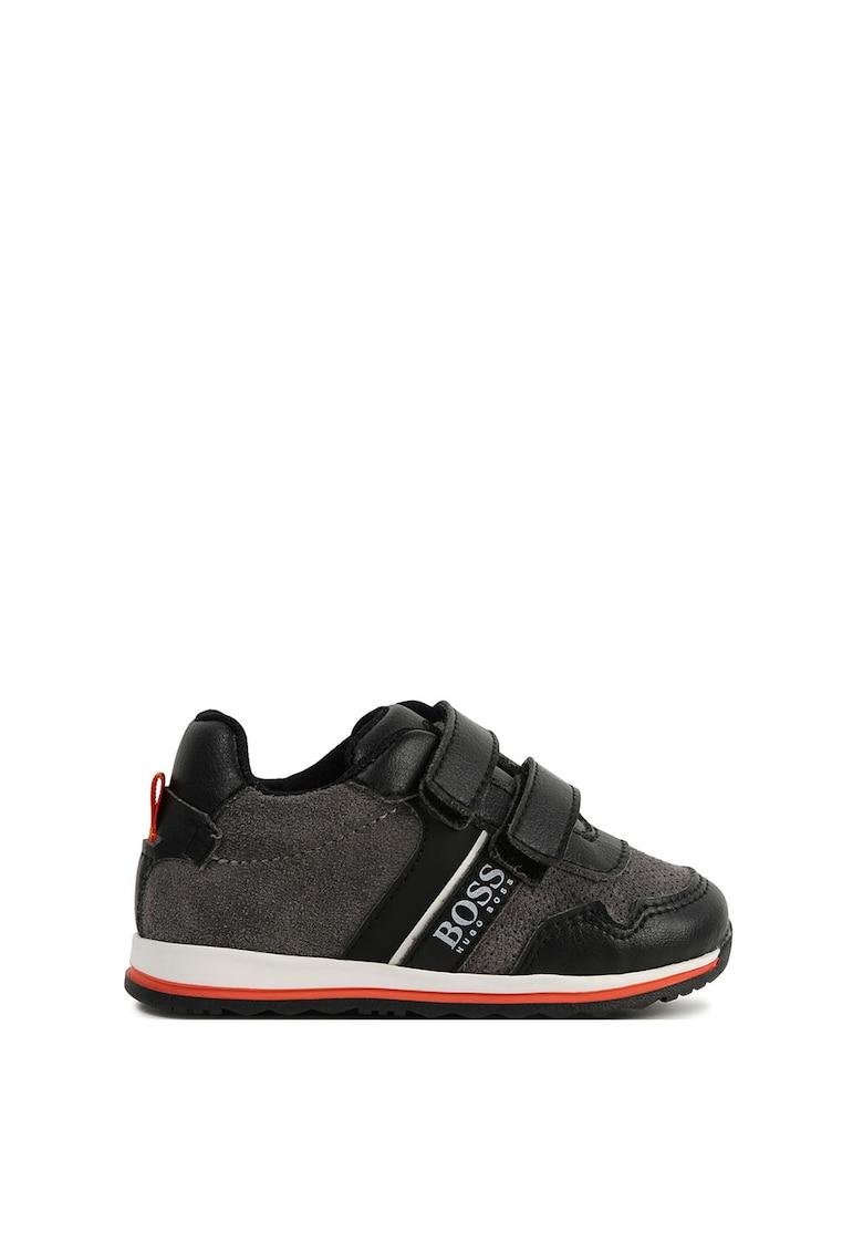 Pantofi sport cu inchidere velcro si insertii din piele