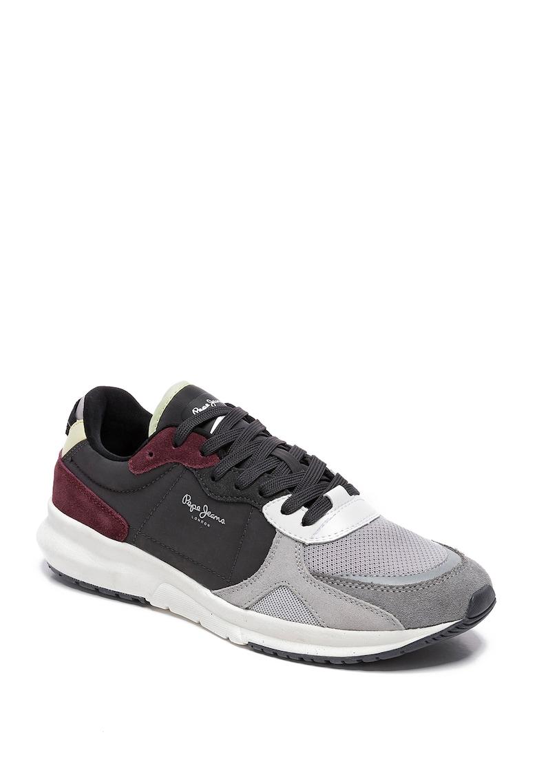 Pantofi sport cu model colorblock si insertii din piele intoarsa Park