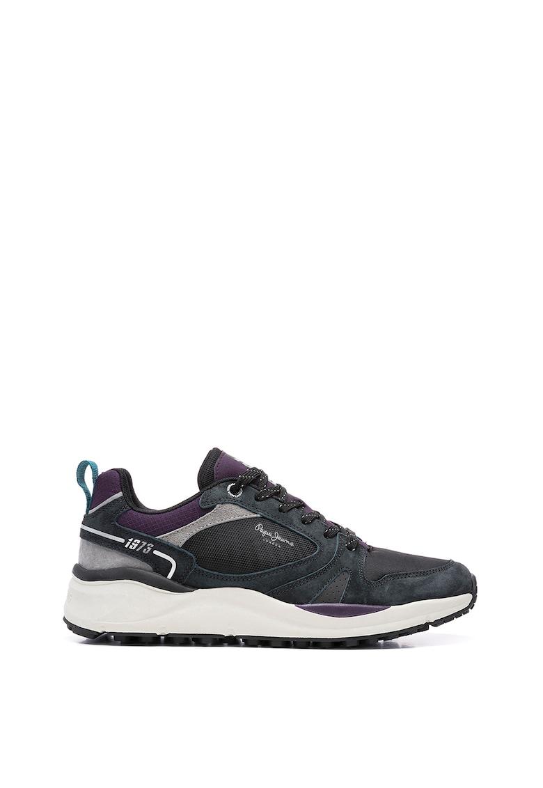 Pantofi sport cu model colorblock si garnituri din piele intoarsa