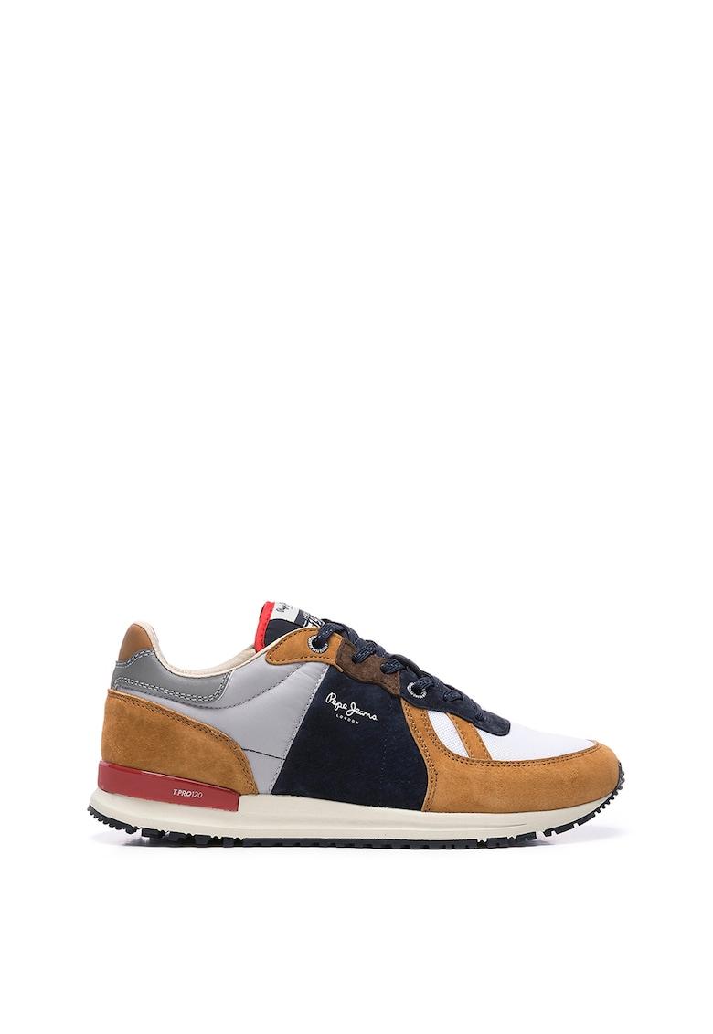 Pantofi sport de piele spaltuita cu aspect colorblock