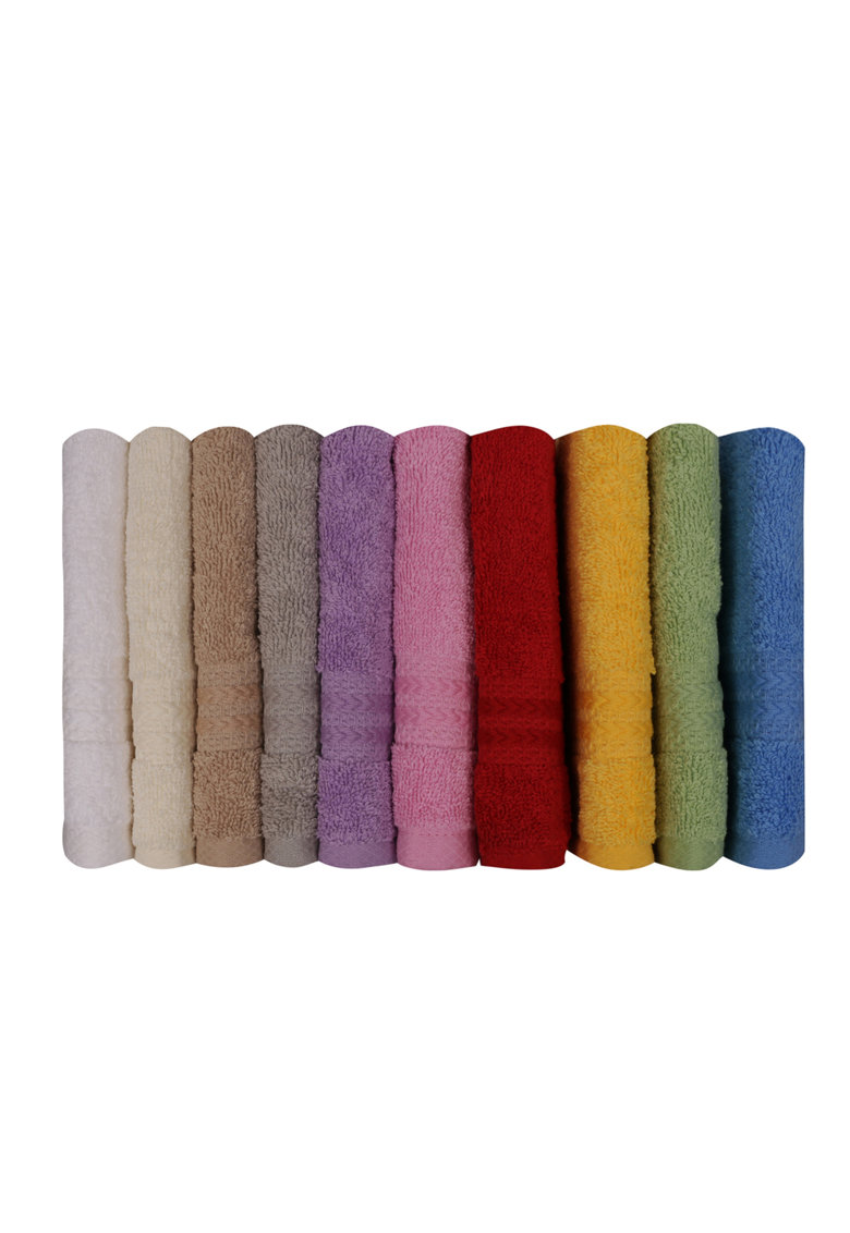 Set 10 prosoape uni  Rainbow - 100% bumbac - 30 x 50 cm - Culori multiple