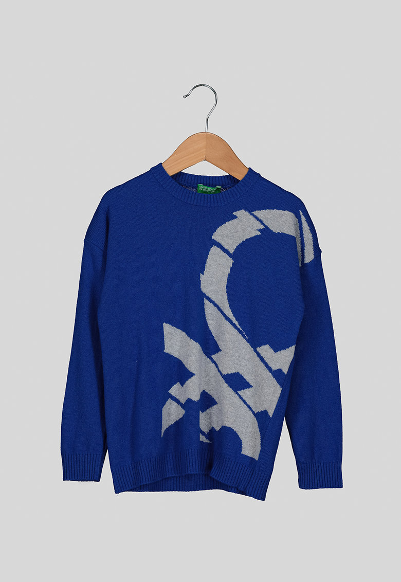 Pulover din lana si casmir - cu model logo de la United Colors of Benetton