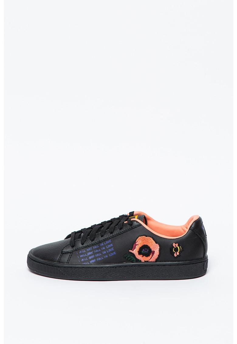 Pantofi sport de piele si piele ecologica si detalii brodate Tsai