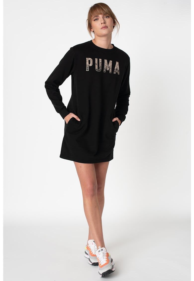 Rochie tip bluza sport cu imprimeu logo 2