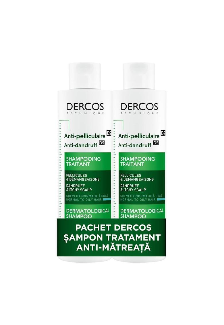 Pachet 2 x Sampon anti-matreata Dercos pentru par normal spre gras - 200 ml imagine promotie