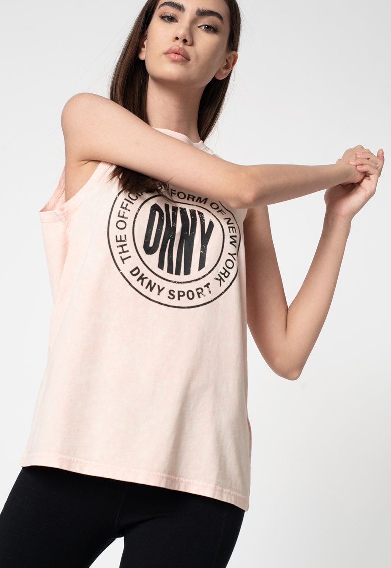 Tricou din bumbac fara maneci cu imprimeu logo imagine promotie