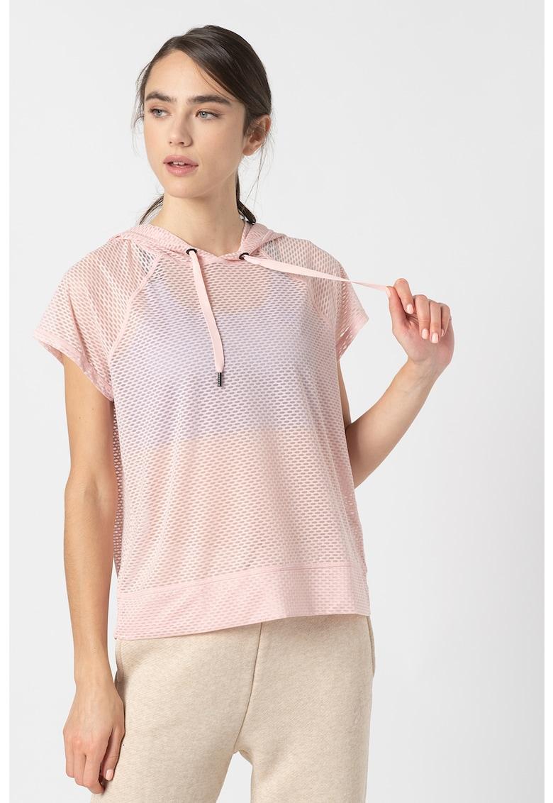 Tricou semitransparent cu gluga - pentru fitness