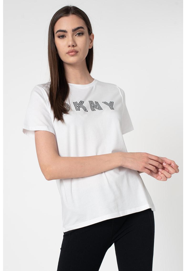 Tricou din amestec de modal cu imprimeu logo imagine