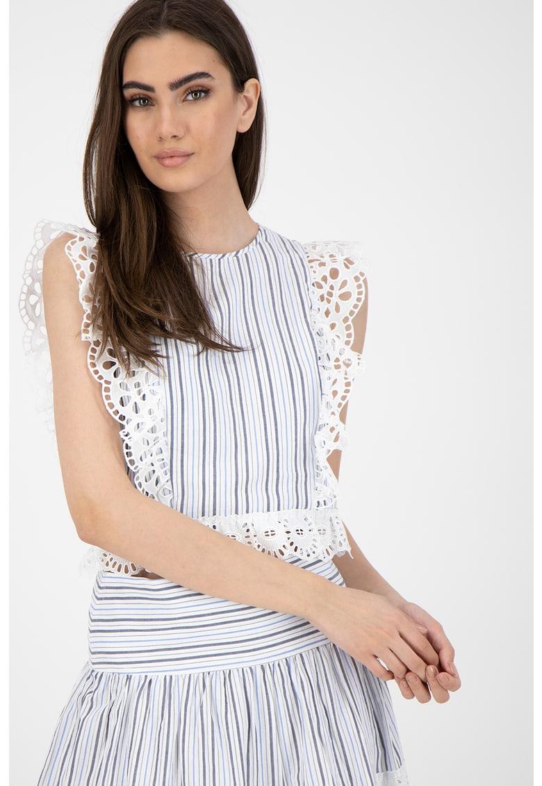 Bluza cu model in dungi si franjuri din dantela sangallo
