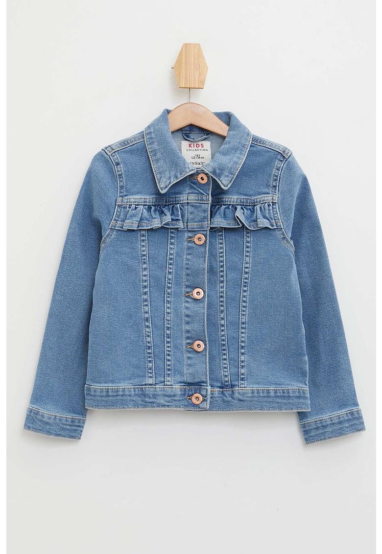 Jacheta din denim cu buzunare pe piept imagine