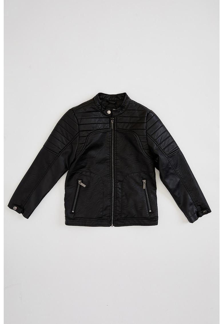 Jacheta de piele ecologica - cu guler scurt