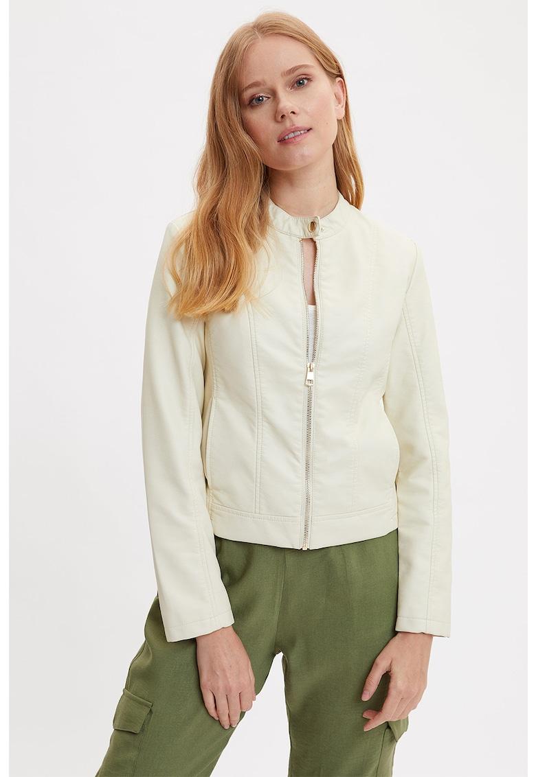 Jacheta din piele ecologica cu fermoar