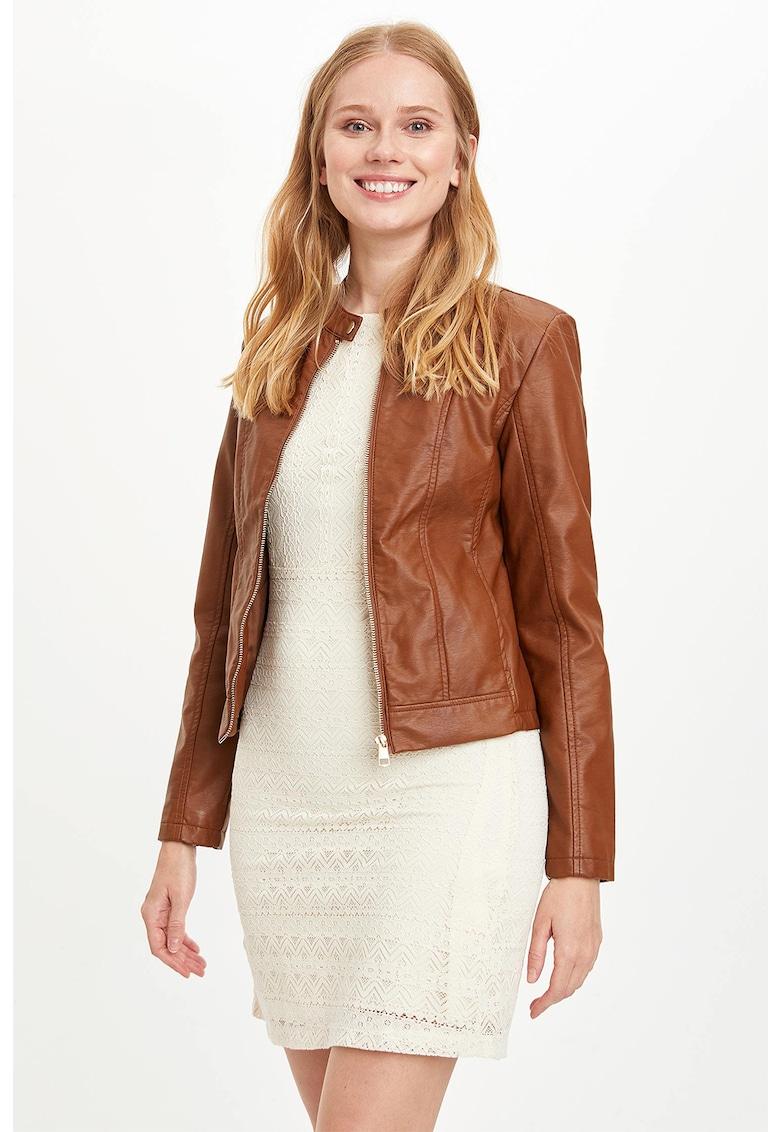 Jacheta din piele ecologica cu fermoar imagine