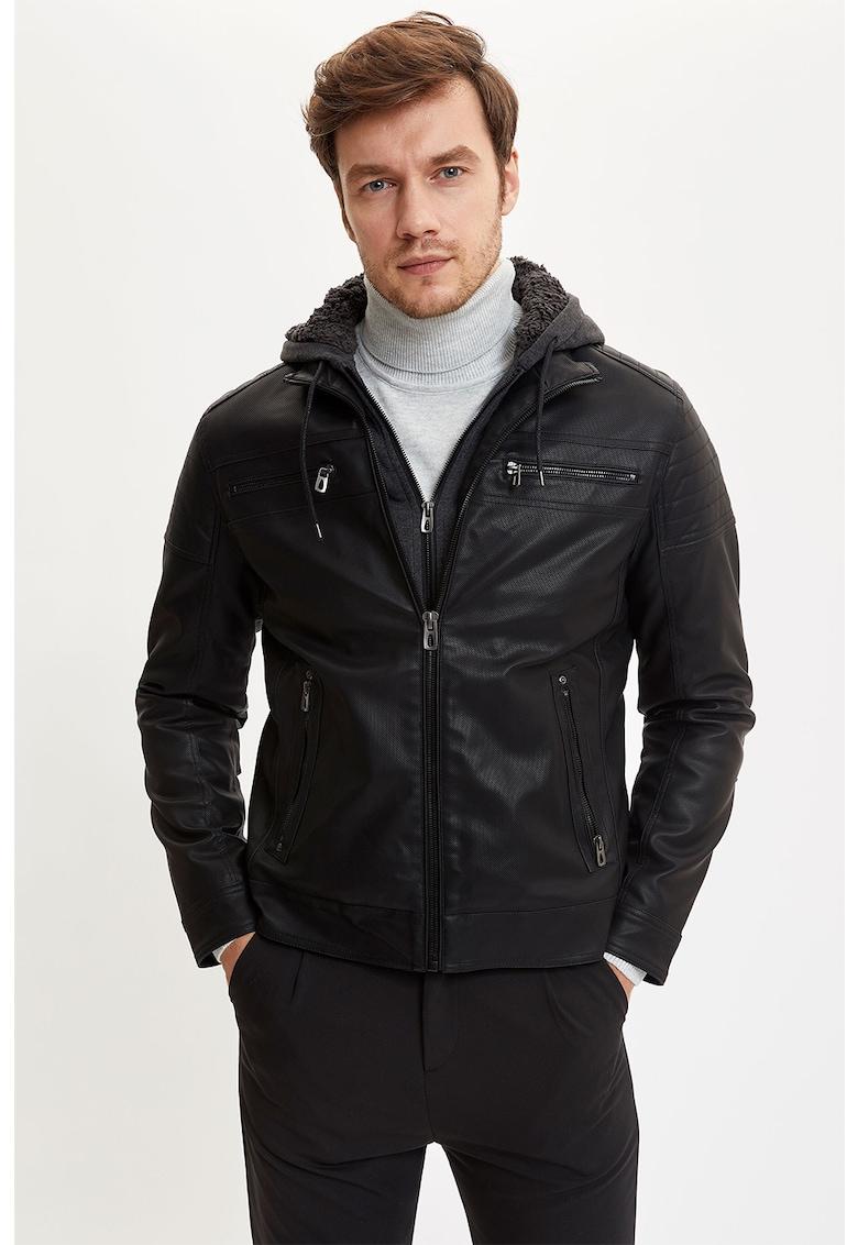 Jacheta de piele ecologica - cu gluga imagine