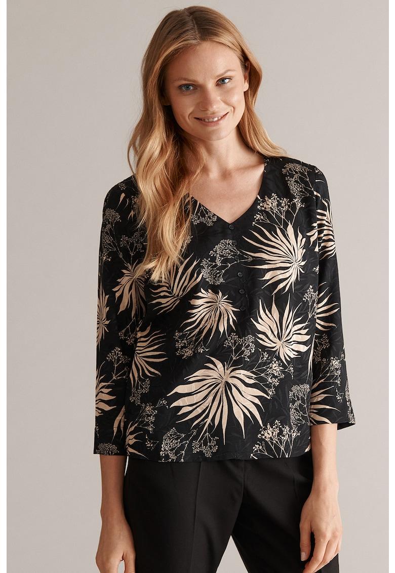 Bluza cu decolteu in V si model floral Alise