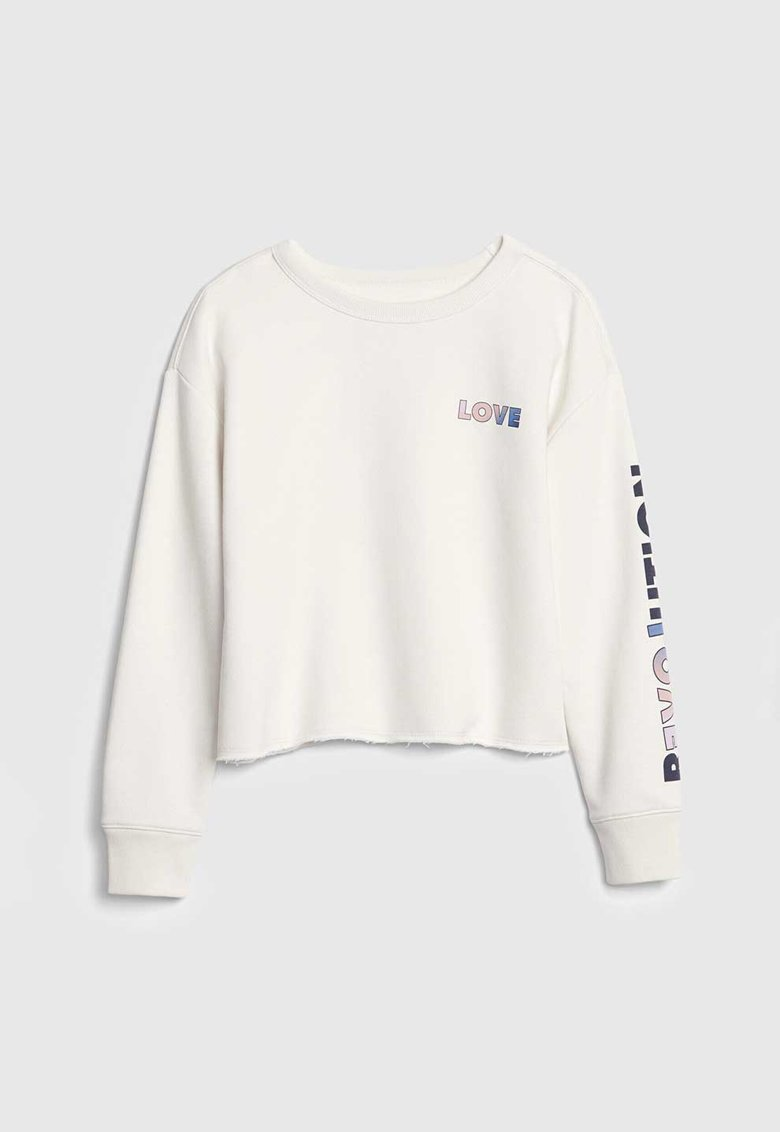 Bluza sport crop cu imprimeu text imagine