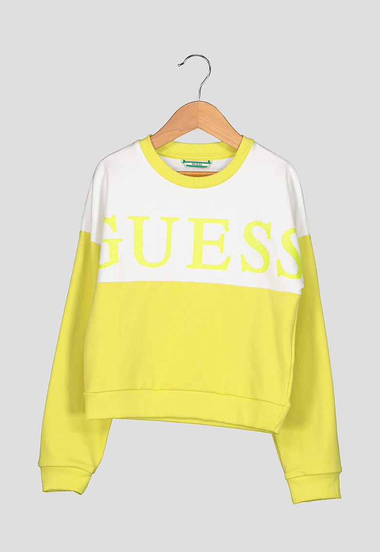 Bluza sport cu imprimeu logo si model colorblock