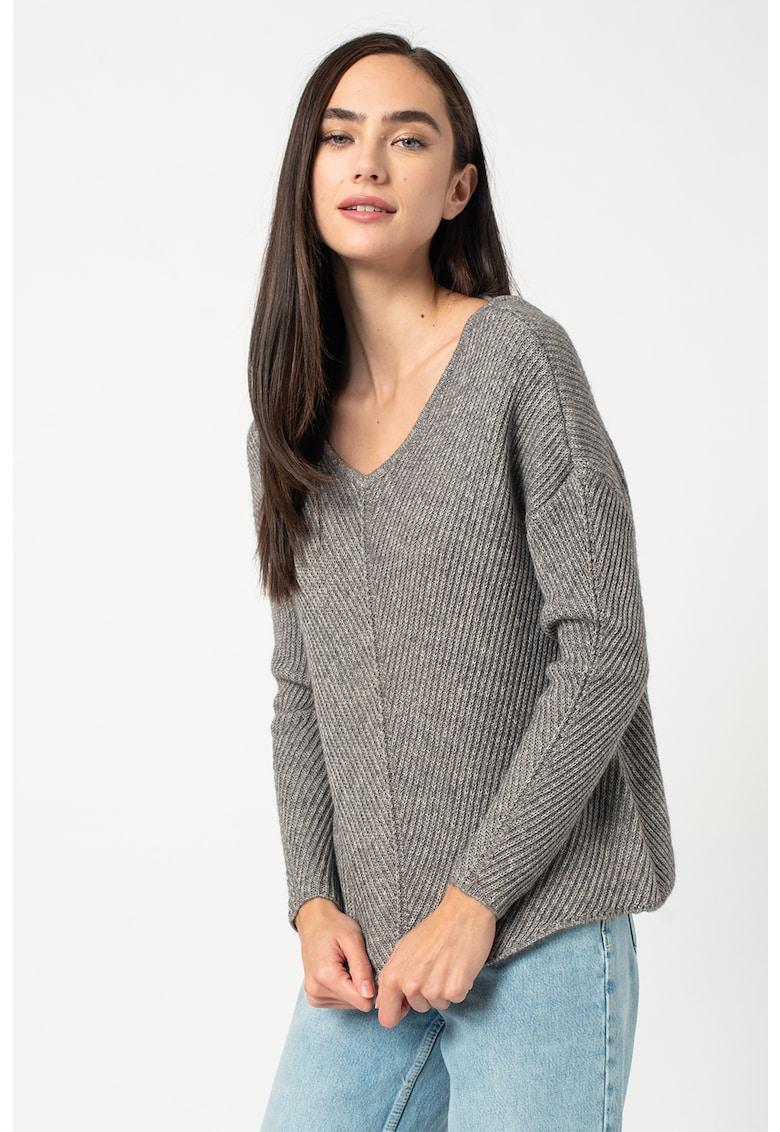 Pulover din amestec de lana cu garnitura de dantela Buena