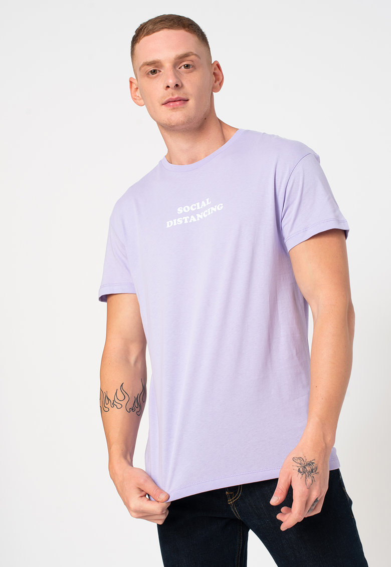 Tricou relaxed fit cu imprimeu text Keep Bărbați imagine